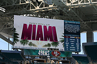 2nd February 2020, Miami Gardens, Miami, Florida USA; Superbowl LIV, Kansas City Chiefs versus San Francisco 49ers;   A general  view of the video board inside Hard Rock Stadium  prior to Super Bowl LIV on February 2, 2020 at Hard Rock Stadium