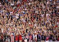 PHILADELPHIA, PA - JUNE 30: US fans, American Outlaws cheer for the USA during a game between Curaçao and USMNT at Lincoln Financial Field on June 30, 2019 in Philadelphia, Pennsylvania.