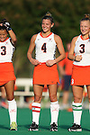 19 September 2014: Virginia's Maddie DeCerbo. The Duke University Blue Devils hosted the University of Virginia Cavaliers at Jack Katz Stadium in Durham, North Carolina in a 2014 NCAA Division I Field Hockey match. Virginia won the game 2-1.