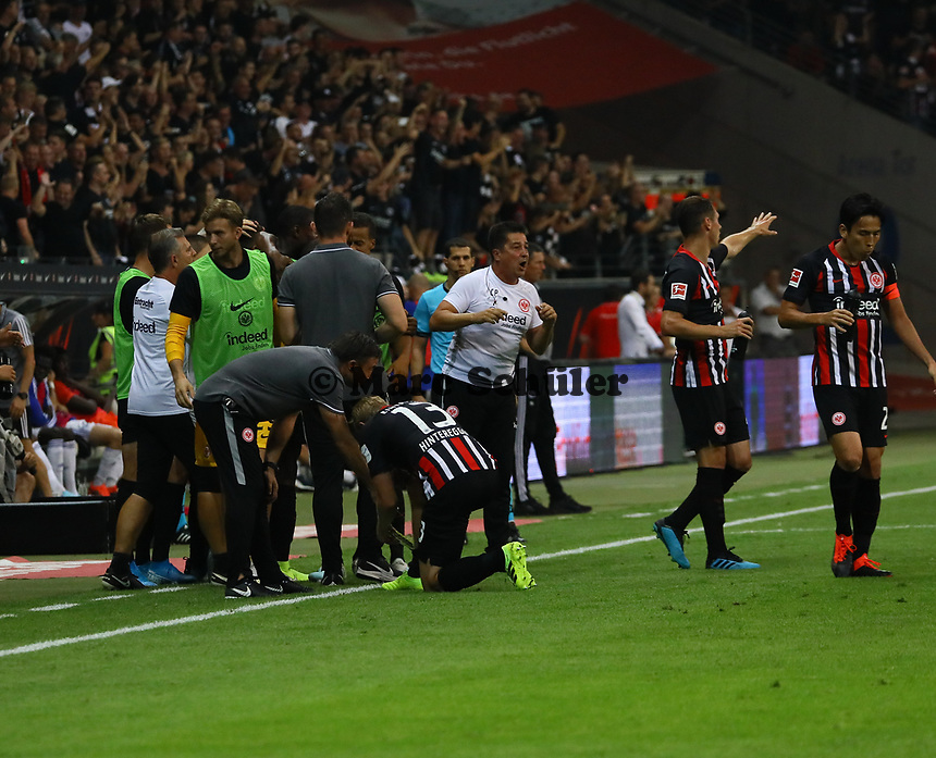 Torjubel Eintracht beim 2:0 - 29.08.2019: Eintracht Frankfurt vs. Racing Straßburg, UEFA Europa League, Qualifikation, Commerzbank Arena<br /> DISCLAIMER: DFL regulations prohibit any use of photographs as image sequences and/or quasi-video.