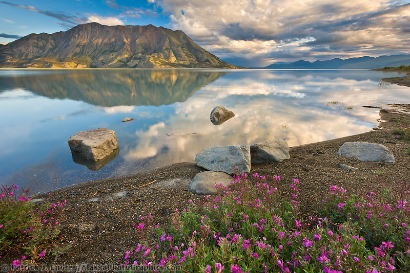 Kluane lake and sheep mountain area in Kluane National Park, Yukon Territory, Canada, along the Alaska Canada Highway.