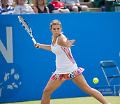 June 14th 2017, Nottingham,  England; WTA Aegon Nottingham Open Tennis Tournament day 5;  Jana Fett of Croatia prepares to hit a forehand in her match against Ashleigh Barty of Australia