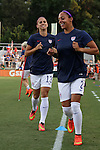 20 August 2014: Alex Morgan (USA) (13) and Syndney Leroux (USA) (2). The United States Women's National Team played the Switzerland Women's National Team at WakeMed Stadium in Cary, North Carolina in an women's international friendly soccer game. The United States won the match 4-1.