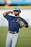 Charlotte Stone Crabs outfielder Garrett Whitley (16) during warmups before a Florida State League game against the Bradenton Marauders on July 30, 2019 at LECOM Park in Bradenton, Florida.  Charlotte defeated Bradenton 5-0.  (Mike Janes/Four Seam Images)