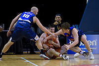 Finn Delaney (Giants, right) fouls Conor Morgan (Sharks) during the national basketball league semifinal match between Nelson Giants and Southland Sharks at TSB Bank Arena in Wellington, New Zealand on Saturday, 4 August 2018. Photo: Dave Lintott / lintottphoto.co.nz