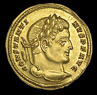 BNPS.co.uk (01202 558833)<br /> Pic:  DixNoonanWebb/BNPS <br /> <br /> The immaculate coin bears the head of Constantine The Great - The first Christian Emperor of the Roman world.<br /> <br /> 1600 year old coin looks as good as new...<br /> <br /> A determined metal detectorist is set to make a small fortune after uncovering an extremely historic and rare Roman gold coin.<br /> <br /> The 4th century AD treasure, carrying the portrait of Constantine I, was found a foot below the surface of a field near Wanstrow, Somerset.<br /> <br /> Constantine was proclaimed Emperor whilst on campaign in York in 306 AD, after the death of his father Constantius - he then took several years to defeat other claiments to the title before uniting the entire Empire and embracing the cult of christianity. <br /> <br /> The gold solidus is one of the first examples of this type to be unearthed in this country, and was discovered close to a Roman road once used for transporting mined lead ore.<br /> <br /> Now, the lucky detectorist is selling it at auction with Dix Noonan Webb, of London, who expect it to fetch over £12,000.
