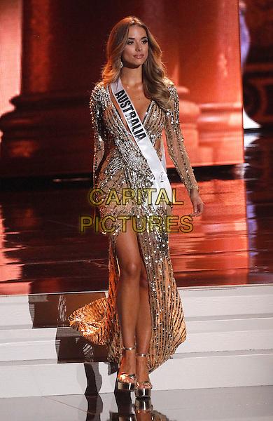 16 December 2015 - Las Vegas, Nevada -  Miss Australia, Monika Radulovic.  2015 Miss Universe Preliminary Competition at Axis at Planet Hollywood Resort and Casino. <br /> CAP/ADM/MJT<br /> &copy; MJT/AdMedia/Capital Pictures