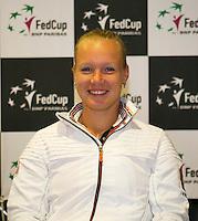The Netherlands, Den Bosch, 16.04.2014. Fed Cup Netherlands-Japan, Press-conference Netherlands team, Kiki Bertens, (NED)<br /> Photo:Tennisimages/Henk Koster