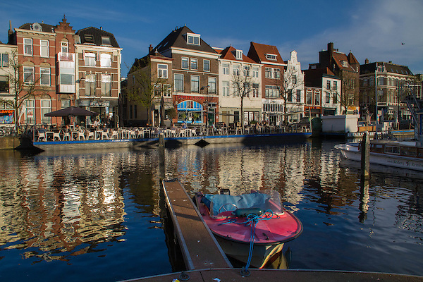Boats on a canal in Leiden, Netherlands.
