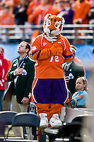 January 1, 2009:      The Clemson Tiger mascot during the National Anthem at the 64th annual Konica Minolta Gator Bowl between the Nebraska Cornhuskers  and the Clemson Tigers  at Jacksonville Municipal Stadium in Jacksonville, Florida. Nebraska defeated Clemson 26-21.