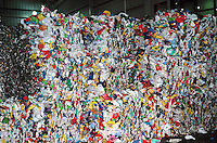 CUBES OF BALED RECYCLED MATERIALS<br /> Sloatsburg, NY<br /> Recycled Plastic soda bottles sorted and packed into large bales inside Recycling Plant.  These large blocks will be shipped to another facility for  reprocessing.