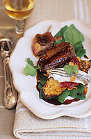 """Europe/France/Aquitaine/64/Pyrénées-Atlantiques/Saint-Jean-de-Luz: Canard marin au tetragone, tartine, anchois aux piquillos - Recette de Grégoire Sein chef du restaurant """"Le Chantaco"""""""