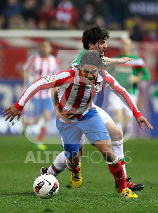 Madrid 21/03/2012.- Estadio Vicente Calderon..Liga BBVA..Atco.Madrid - Athletic Club.Falcao, San Jose...©Alex Cid-Fuentes/ALFAQUI FOTOGRAFIA.........