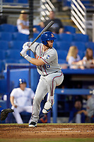 St. Lucie Mets right fielder Jeff Diehl (45) at bat during a game against the Dunedin Blue Jays on April 19, 2017 at Florida Auto Exchange Stadium in Dunedin, Florida.  Dunedin defeated St. Lucie 9-1.  (Mike Janes/Four Seam Images)