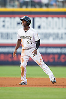 Jared Mitchell (21) of the Charlotte Knights takes his lead off of second base against the Gwinnett Braves at BB&T Ballpark on August 19, 2014 in Charlotte, North Carolina.  The Braves defeated the Knights 10-5.   (Brian Westerholt/Four Seam Images)