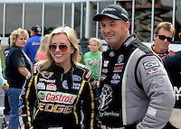 May 11, 2013; Commerce, GA, USA: NHRA top fuel dragster driver Brittany Force (left) with Bob Vandergriff Jr during the Southern Nationals at Atlanta Dragway. Mandatory Credit: Mark J. Rebilas-