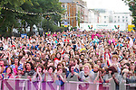 The crowd at Denny Street Stage on Friday waiting for Jedward.