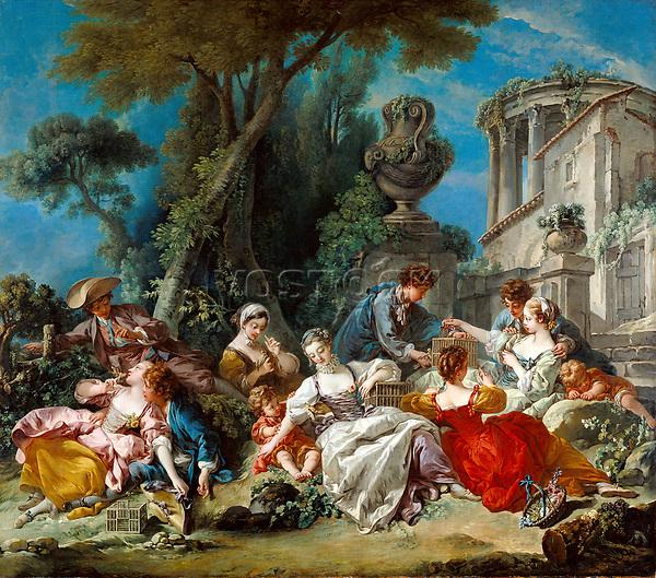 The Bird Catchers; François Boucher, French, 1703 - 1770; 1748; Oil on canvas; Unframed: 294.6 x 337.8 cm (116 x 133 in.), Framed: 321.3 x 364.5 x 7.6 cm (126 1/2 x 143 1/2 x 3 in.)