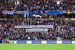 Stockholm 2013-10-27 Fotboll Allsvenskan Djurg&aring;rdens IF - Gefle IF :  <br /> Djurg&aring;rden supportrar med en banderoll innan matchen med texten &quot;Vila i Frid Joel&quot;<br /> (Foto: Kenta J&ouml;nsson) Nyckelord:  supporter fans publik supporters