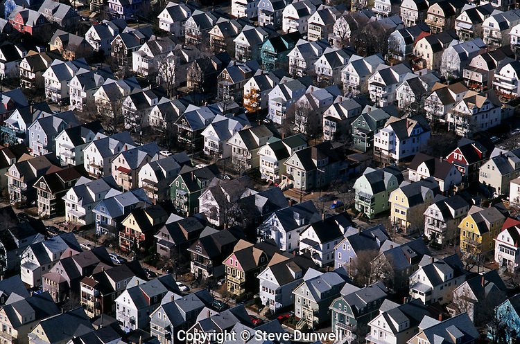 Housing rows, aerial, Somerville, MA