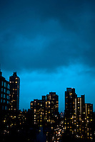 Cloudy, blue rainy sunset on the Upper East Side of Manhattan.