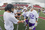 Orange, CA 05/16/15 - Matt Hansen (Grand Canyon #32), Cody Olson (Grand Canyon #21) and other Grand Canyon captains meet the Colorado captains during the coin toss at midfield before the MCLA Division I finals.