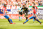 Atletico de Madrid's player Filipe Luis and Sporting de Gijon's player Burgui during a match of La Liga Santander at Vicente Calderon Stadium in Madrid. September 17, Spain. 2016. (ALTERPHOTOS/BorjaB.Hojas)