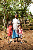 MAURITIUS, Bois Cherie, portrait of Anjani Luckhan, her granddaughter Vidhi Lukhan, and her grandson Abhir Lukhan