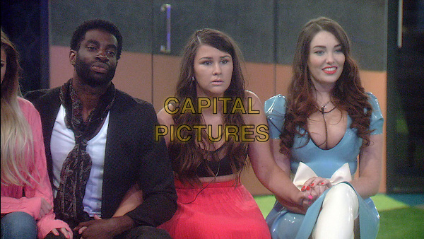 Kieran, Chloe and Harry.<br /> Big Brother Summer 2015 - Day 18<br /> *Editorial Use Only*<br /> CAP/NFS<br /> Image supplied by Capital Pictures