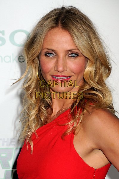 "CAMERON DIAZ.Attending ""The Green Hornet"" Los Angeles Premiere held at Grauman's Chinese Theatre, Hollywood, California, USA, 10th January 2011..portrait headshot make-up beauty red one shoulder pink lipstick wavy hair tanned bronzer eyeliner gold necklace mouth open .CAP/ADM/BP.©Byron Purvis/AdMedia/Capital Pictures."