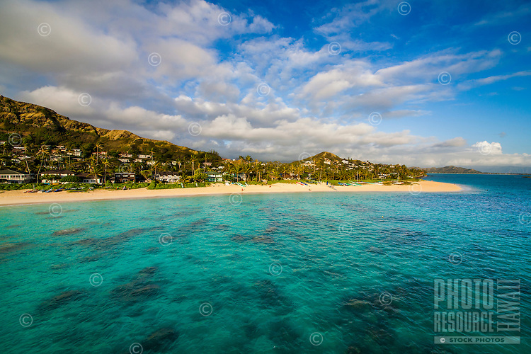 Beachgoers enjoy the morning at Lanikai Beach, Windward O'ahu.