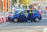 2019 05 05 Police car crashes with Ford Fiesta, Swansea, Wales, UK