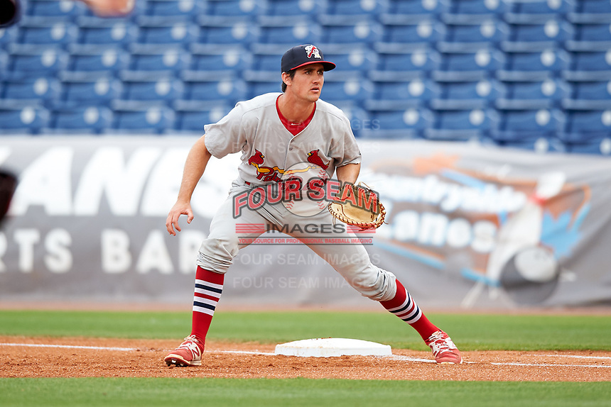 Palm Beach Cardinals first baseman Danny Diekroeger (4) during a game against the Clearwater Threshers on April 15, 2017 at Spectrum Field in Clearwater, Florida.  Clearwater defeated Palm Beach 2-1.  (Mike Janes/Four Seam Images)