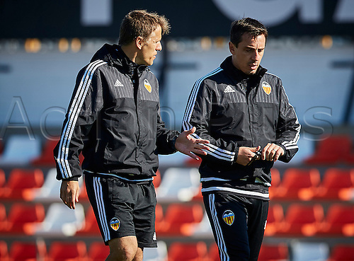 03.24.2016. Valencia CF Sports City, Training session. Valencia CF Assistant Coach Phil Neville (L) talks to Head coach Gary Neville during a training session.