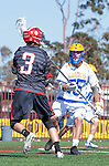 Santa Barbara, CA 04/16/16 - Austin Nader (Chapman #3) and David Abady (UCSB #25) in action during the final regular MCLA SLC season game between Chapman and UC Santa Barbara.  Chapman defeated UCSB 15-8. in action during the final regular MCLA SLC season game between Chapman and UC Santa Barbara.  Chapman defeated UCSB 15-8.