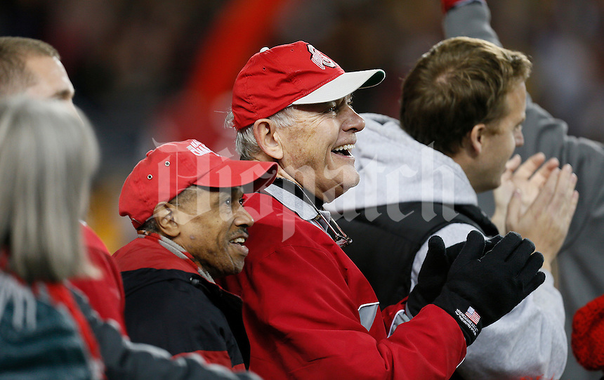 The first Brutus reacts during the college football game between the Ohio State Buckeyes and the Minnesota Golden Gophers at Ohio Stadium in Columbus, Saturday night, November 7, 2015. The Ohio State Buckeyes defeated the Minnesota Golden Gophers 28 - 14. (The Columbus Dispatch / Eamon Queeney)