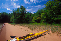 Sea kayaks beached on Stockton Island in the Apostle Islands National Lakeshore near Bayfield, Wis.