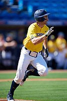 Michigan Wolverines center fielder Jonathan Engelmann (2) runs to first base after hitting a single during a game against Army West Point on February 17, 2018 at Tradition Field in St. Lucie, Florida.  Army defeated Michigan 4-3.  (Mike Janes/Four Seam Images)
