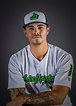 11 June 2019: Vermont Lake Monsters pitcher Austin Briggs poses for a portrait on Photo Day at Centennial Field in Burlington, Vermont. The Lake Monsters are the Single-A minor league affiliate of the Oakland Athletics and play a short season in the NY Penn League Stedler Division. Mandatory Credit: Ed Wolfstein Photo *** RAW (NEF) Image File Available ***