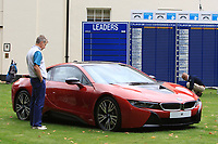 Admiring the BMW i8 during the Pro-Am of the Bridgestone Challenge 2017 at the Luton Hoo Hotel Golf &amp; Spa, Luton, Bedfordshire, England. 06/09/2017<br /> Picture: Golffile | Thos Caffrey<br /> <br /> <br /> All photo usage must carry mandatory copyright credit     (&copy; Golffile | Thos Caffrey)
