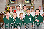 Pupils of Gael Scoil Lios Tuathail, who received their first holy communion in St Mary's church Listowel on Saturday. Front l-r Eric De Barra, Nathan O? Caithai?n, Aaron Sleibhi?, Caomha?n O? Da?laigh, Mikey O? Duinn.  Back l-r Be?ibhinn Ni? Dhonnchu?, Megan nic Chionnaith, Louryn Ni? Gho?ga?n, Caoimh Ceallaigh and Myheala Ni? Laitha?in.   Copyright Kerry's Eye 2008
