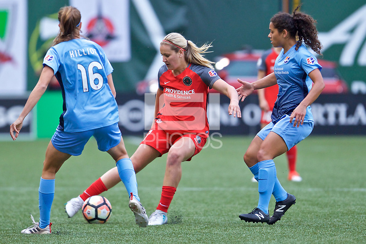 Portland, OR - Saturday June 17, 2017: Sarah Killion, Lindsey Horan, Raquel Rodriguez during a regular season National Women's Soccer League (NWSL) match between the Portland Thorns FC and Sky Blue FC at Providence Park.