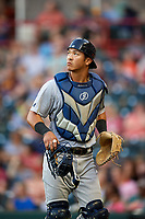Trenton Thunder catcher Chance Numata (6) jogs off the field during a game against the Richmond Flying Squirrels on May 11, 2018 at The Diamond in Richmond, Virginia.  Richmond defeated Trenton 6-1.  (Mike Janes/Four Seam Images)