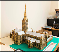 BNPS.co.uk (01202 558833)<br /> Pic: TomWren/BNPS<br /> <br /> The cardboard cut-out that Barry is working from.<br /> <br /> Single-again Barry King has completed his stunning matchstick model of the front of Salisbury Cathedral - thanks to an old flame.<br /> <br /> Barry began the painstaking project in 2012 but downed tools when he become distracted by a long-term relationship.<br /> <br /> But after the couple split up last year, Barry resumed his hobby and completed the replica of the West Front of the Wiltshire cathedral using 730,000 matches.<br /> <br /> The stunning model will go on public display in Salisbury from August 19.