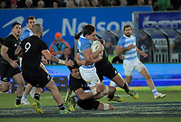 Argentina's Tomas Lezana is tackled during the Rugby Championship match between the New Zealand All Blacks and Argentina Pumas at Trafalgar Park in Nelson, New Zealand on Saturday, 8 September 2018. Photo: Dave Lintott / lintottphoto.co.nz