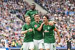 10.09.2017, Olympiastadion, Berlin, GER, 1.FBL, Hertha BSC vs SV Werder Bremen<br /> <br /> im Bild<br /> Thomas Delaney (Werder Bremen #6) bejubelt seinen Treffer zum 1:1 Ausgleich mit Teamkollegen, Florian Kainz (Werder Bremen #7), Max Kruse (Werder Bremen #10), Lamine San&eacute; / Sane (Werder Bremen #26), <br /> <br /> Foto &copy; nordphoto / Ewert