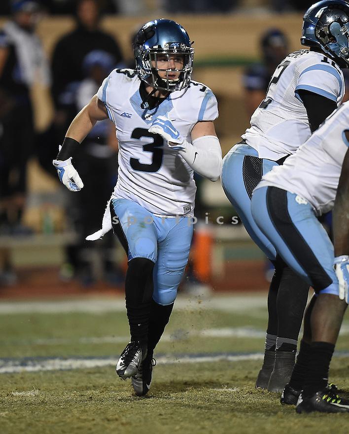North Carolina Tarheels Ryan Switzer (3) during a game against the Duke Blue Devils on November 20, 2014 at Wallace Wade Stadium in Durham, NC. North Carolina beat Duke 45-20.