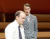 The Trial <br /> by Franz Kafka<br /> adapted by Nick Gill <br /> at The Young Vic Theatre, London, Great Britain <br /> 25th June 2015 <br /> press photocall <br /> <br /> Rory Kinnear as Josef K<br /> Hugh Skinner as Block <br /> <br /> <br /> Photograph by Elliott Franks <br /> Image licensed to Elliott Franks Photography Services