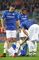 Enttäuschung bei den Lilien, Terrence Boyd (SV Darmstadt 98), Artem Fedetskyy (SV Darmstadt 98), Jerome Gondorf (SV Darmstadt 98) - 05.04.2017: SV Darmstadt 98 vs. Bayer 04 Leverkusen, Johnny Heimes Stadion am Boellenfalltor