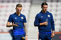 James Maddison of Leicester City juggles his phone as Ben Chilwell of Leicester City looks on during AFC Bournemouth vs Leicester City, Premier League Football at the Vitality Stadium on 15th September 2018